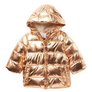 TAHARI GOLD PUFFER FAUX FUR LINED JACKET 18 MO NWO